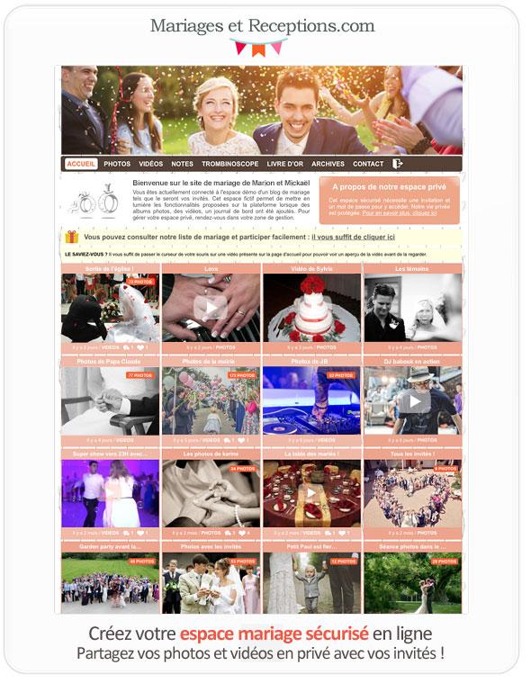Créer un blog de mariage privé permet d'annoncer son mariage à ses invités de façon sécurisée et de partager infos pratiques ou albums photos et vidéos une fois que le mariage est passé.