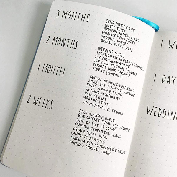 Notez vos idées, adresses, et autres conseils à effectuer mois par mois avant le jour J !